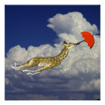 Ir volando caprichoso del paraguas de la jirafa poster