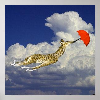 Ir volando caprichoso del paraguas de la jirafa póster
