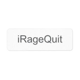 iRageQuit Rage Quitting Gamer Label