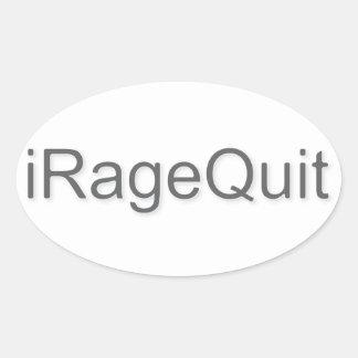 iRageQuit Rage Quitting Gamer Oval Sticker