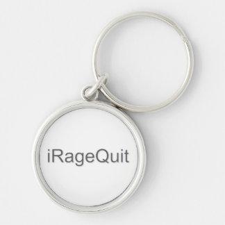 iRageQuit Rage Quitting Gamer Silver-Colored Round Keychain