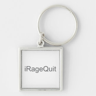 iRageQuit Rage Quitting Gamer Silver-Colored Square Keychain