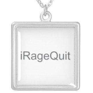 iRageQuit Rage Quitting Gamer Square Pendant Necklace