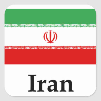 Iran Flag And Name Square Sticker