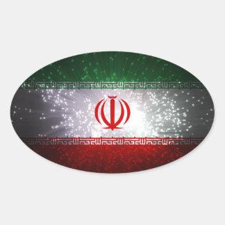 Iran Flag Firework Oval Sticker