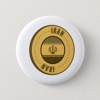 Iran Flag Gold Coin Pinback Button