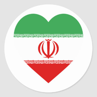 Iran Flag Heart Classic Round Sticker