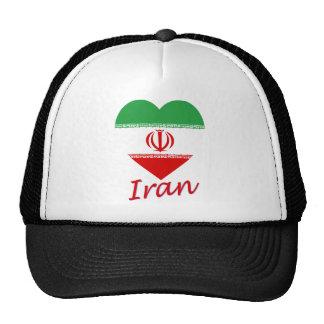 Iran Flag Heart Mesh Hats
