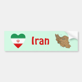 Iran Flag Heart + Map Bumper Sticker Car Bumper Sticker