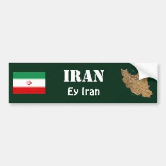 Iran Flag + Map Bumper Sticker Car Bumper Sticker