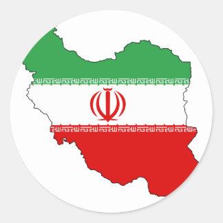 Iran flag map classic round sticker