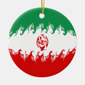 Iran Gnarly Flag Double-Sided Ceramic Round Christmas Ornament