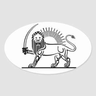 Iran Lion & Sun (Shir-O-Khorshid) Oval Sticker