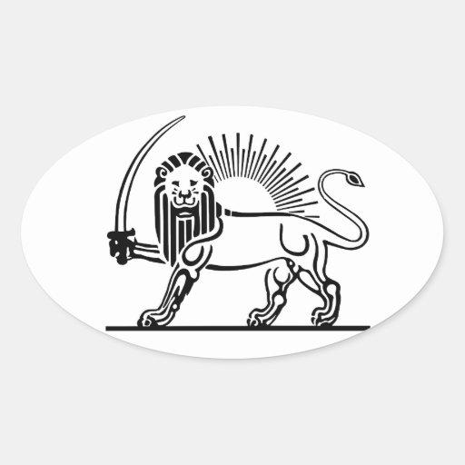 Iran Lion & Sun (Shir-O-Khorshid) Oval Sticker
