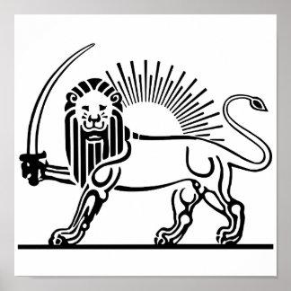 Iran Lion & Sun (Shir-O-Khorshid) Poster