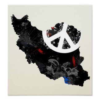 Iran Trendy Peace Sign with Irani map