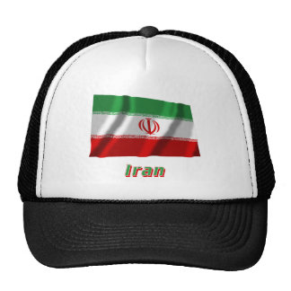 Iran Waving Flag with Name Trucker Hats