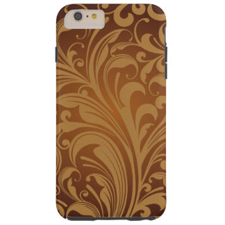 Iraní oriental Paisley, remolinos - negro de Brown Funda De iPhone 6 Plus Tough