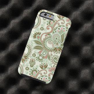 Iraní oriental Paisley, remolinos - rosa verde Funda De iPhone 6 Tough