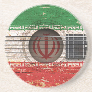 Iranian Flag on Old Acoustic Guitar Coaster