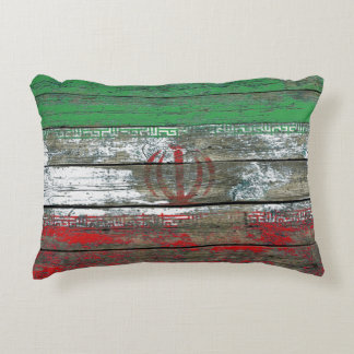 Iranian Flag on Rough Wood Boards Effect Decorative Pillow