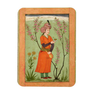 Iranian princely figure holding a cup and flask, c magnet