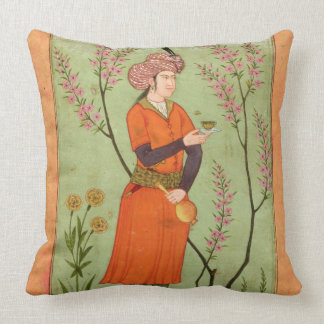 Iranian princely figure holding a cup and flask, c throw pillow