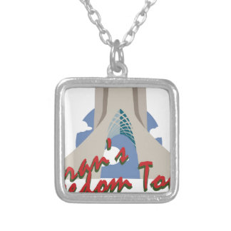 Irans Freedom Tower Square Pendant Necklace