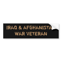 IRAQ & AFGHANISTAN WAR VETERANS BUMPER STICKER