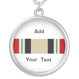 Iraq Campaign Ribbon Silver Plated Necklace