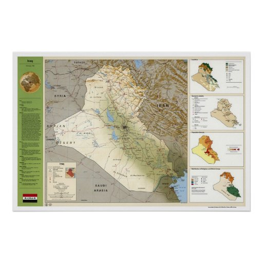 Iraq Facts Map - 1994 Poster
