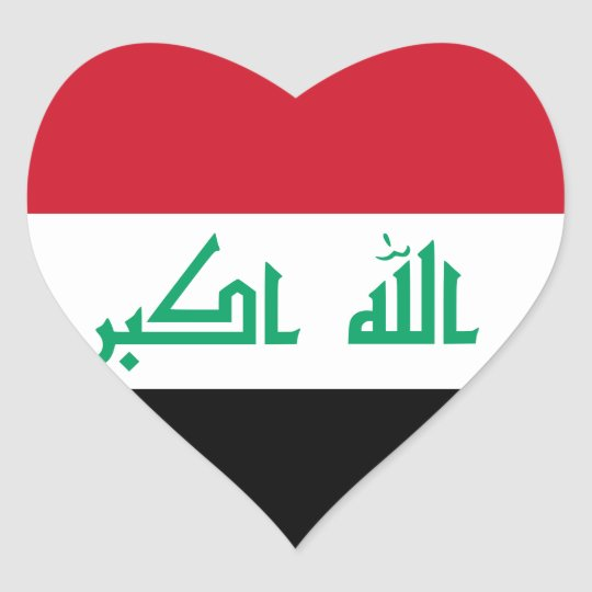 Iraq flag heart sticker