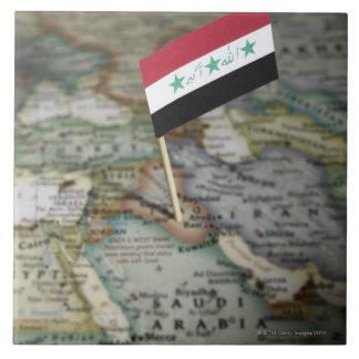 Iraq flag in map ceramic tile