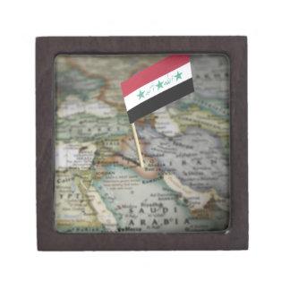 Iraq flag in map premium keepsake boxes
