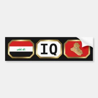 Iraq Flag Map Code Bumper Sticker Car Bumper Sticker