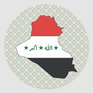 Iraq Flag Map full size Classic Round Sticker