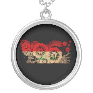 Iraq Flag Round Pendant Necklace
