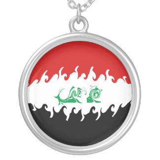 Iraq Gnarly Flag Silver Plated Necklace