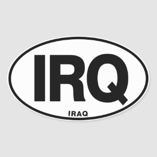Iraq IRQ Oval ID Identification Code Initials Oval Sticker