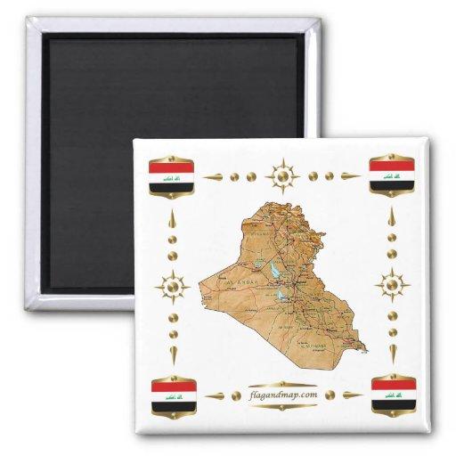 Iraq Map + Flags Magnet