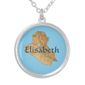 Iraq Map + Name Necklace