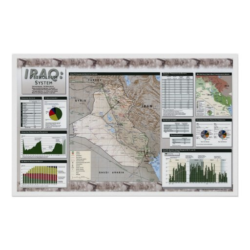 Iraq Oil Facts Map - 2002 Posters