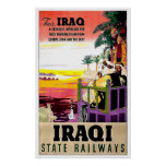 Iraq state railway, badouins, vintage travel poster