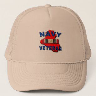 07a0516d Iraq Veteran Service Ribbon, NAVY Trucker Hat
