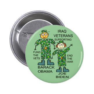 IRAQ VETS FOR OBAMA PINBACK BUTTON