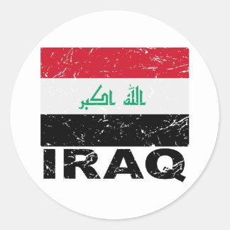 Iraq Vintage Flag Classic Round Sticker