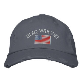 Iraq War Vet with American Flag Embroidered Baseball Cap