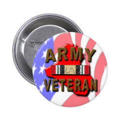 Iraq War Veteran Service Ribbon, ARMY Pinback Button