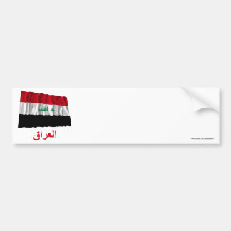 Iraq Waving Flag with Name in Arabic Bumper Stickers