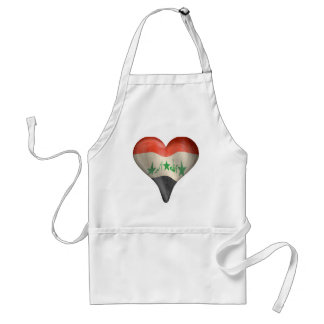 Iraqi Flag In A Heart Adult Apron